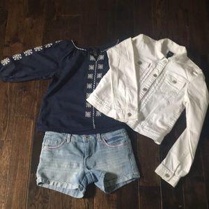 Levi's Short, Gap Jacket, Forever 21 Shirt